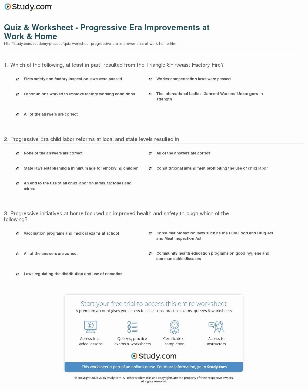 The Progressive Era Worksheet Awesome Quiz & Worksheet Progressive Era Improvements at Work