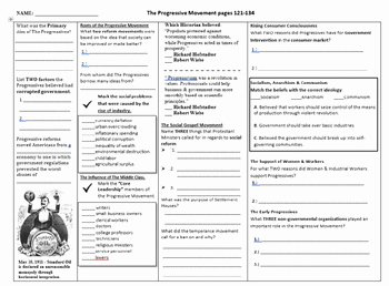 The Progressive Era Worksheet Awesome the Progressive Movement 3 Page Worksheet for the Gateway