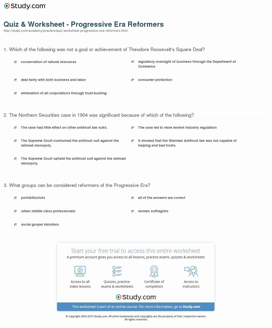 The Progressive Era Worksheet Fresh Quiz & Worksheet Progressive Era Reformers