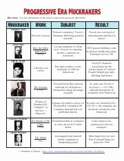 The Progressive Era Worksheet Inspirational Muckrakers Chart Pdf Directions Use the Information In