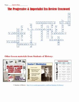 The Progressive Era Worksheet Inspirational Progressive Era and Imperialism Crossword Puzzle by