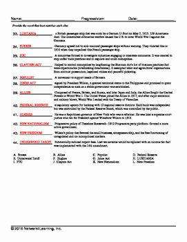 The Progressive Era Worksheet Inspirational Progressive Era Vocabulary Worksheet Collection for Us
