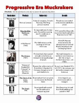 The Progressive Era Worksheet Luxury Progressive Era Muckrakers Chart and Worksheet