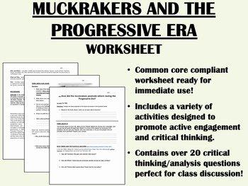 The Progressive Era Worksheet Luxury the Progressive Era and the Muckrakers Worksheet Us