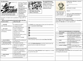 The Progressive Era Worksheet Unique the Progressive Movement 3 Page Worksheet for the Gateway