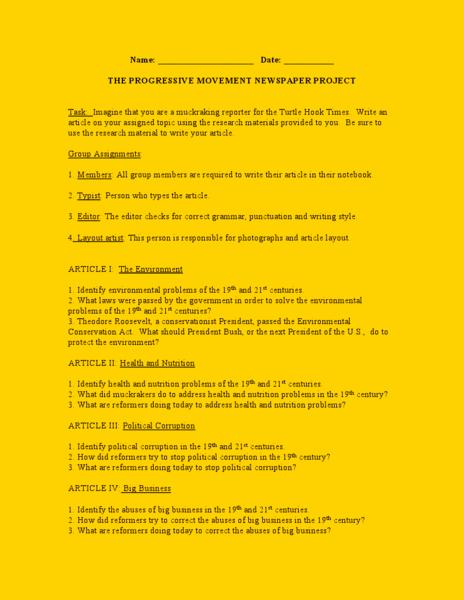 The Progressive Era Worksheet Unique the Progressive Movement Newspaper Project Worksheet for