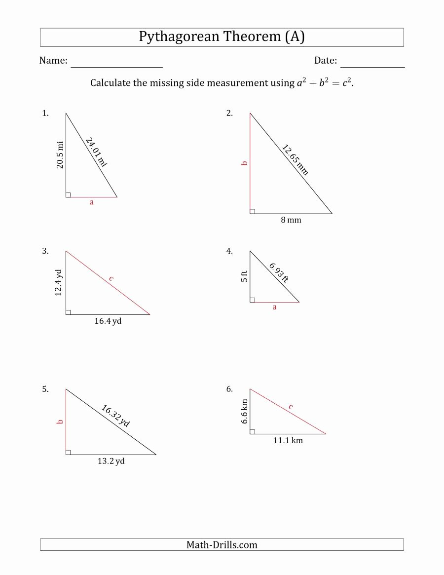 The Pythagorean theorem Worksheet Awesome Calculate A Side Measurement Using Pythagorean theorem No