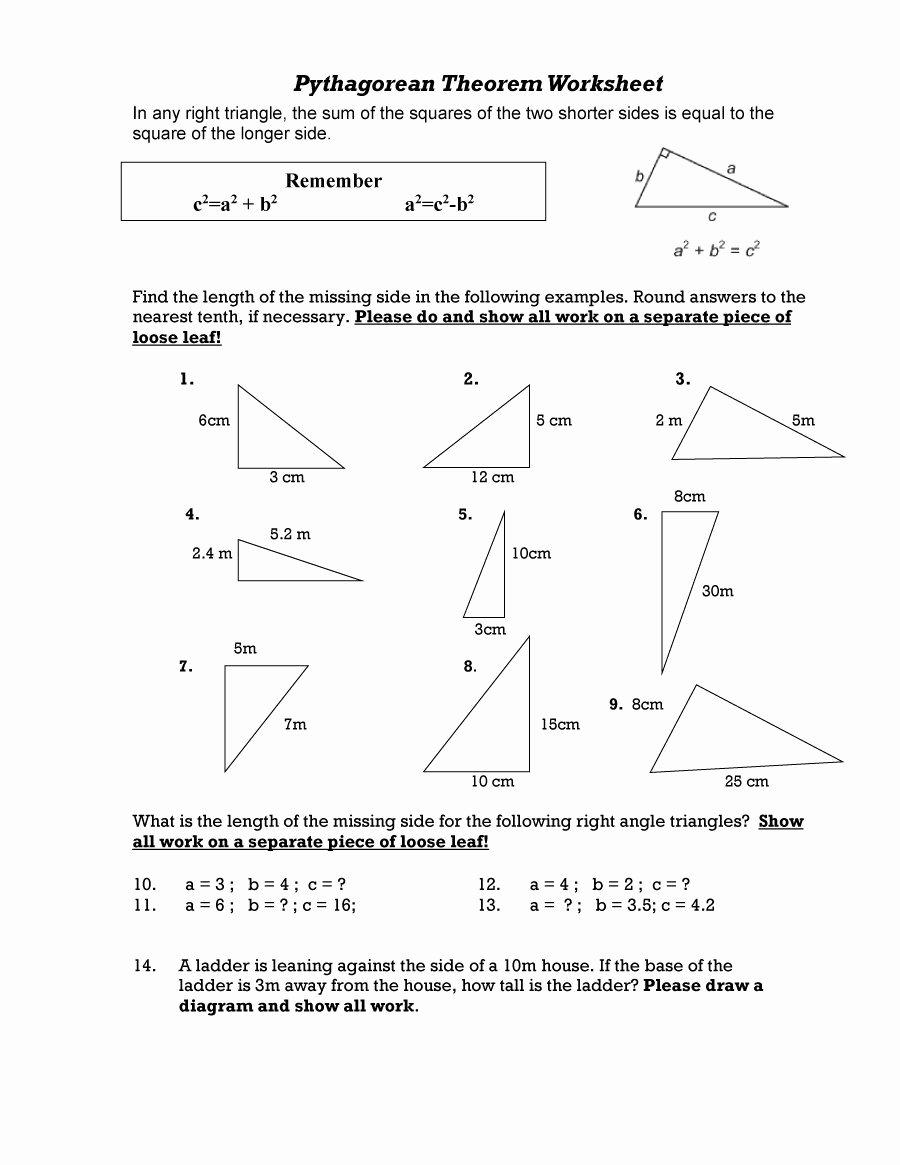 The Pythagorean theorem Worksheet Beautiful 48 Pythagorean theorem Worksheet with Answers [word Pdf]