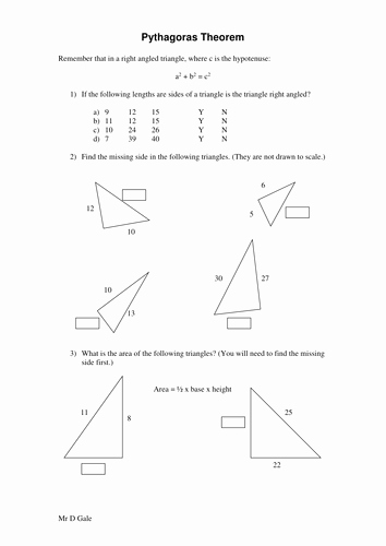 The Pythagorean theorem Worksheet Fresh Pythagoras theorem Worksheet Ks3 Ks4 by Davegale