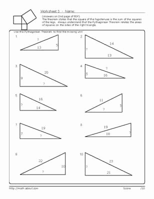 pythagoreans theorem geometry worksheets