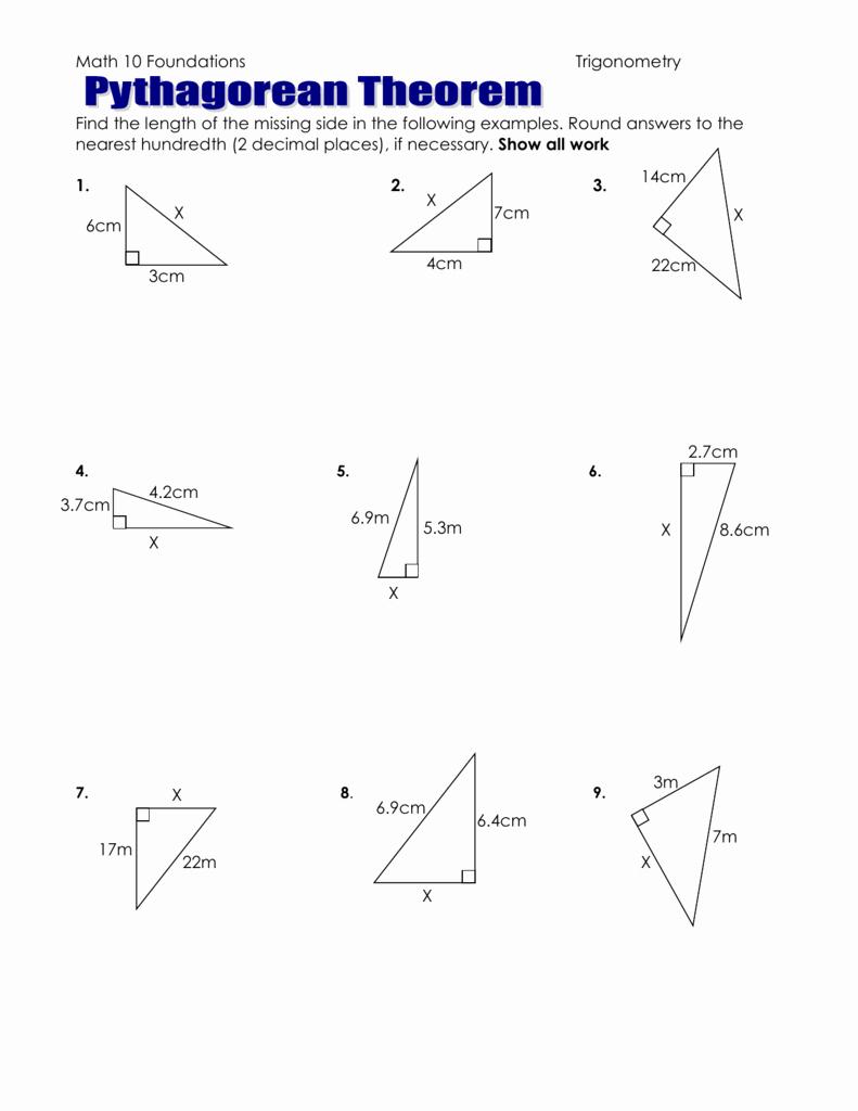 The Pythagorean theorem Worksheet Inspirational Pythagorean theorem Worksheet to Hand In