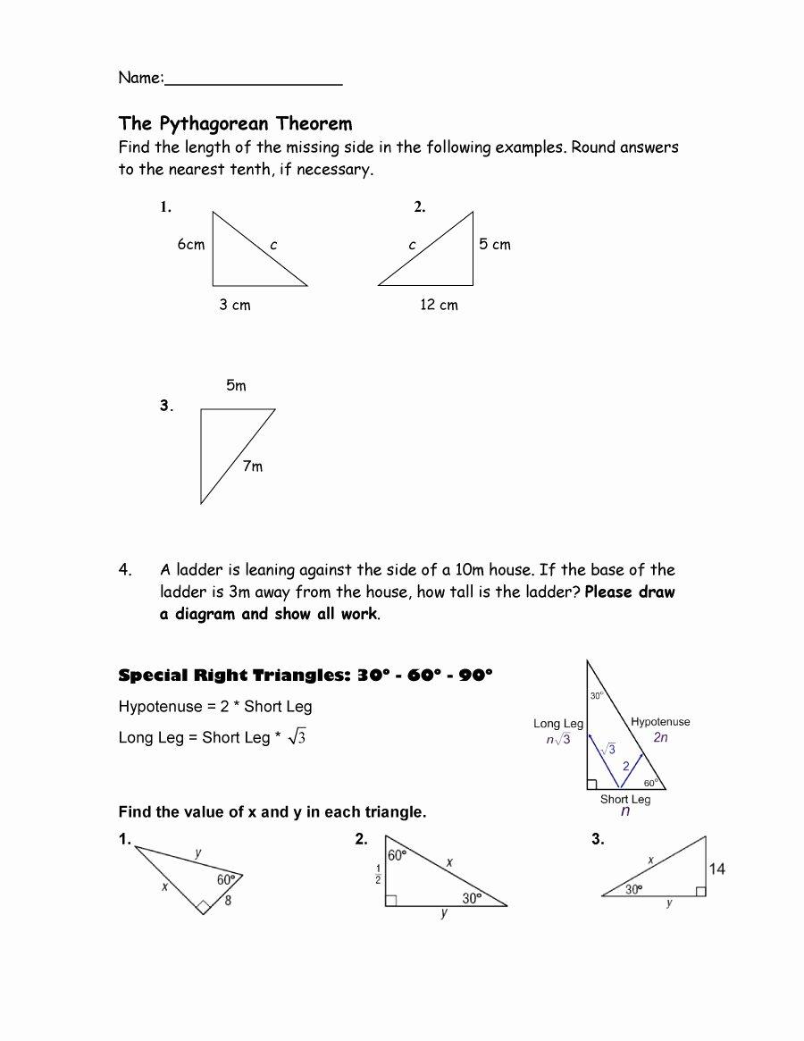 The Pythagorean theorem Worksheet Lovely 48 Pythagorean theorem Worksheet with Answers [word Pdf]