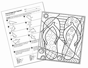 The Pythagorean theorem Worksheet Lovely Pythagorean theorem Coloring Activity by All Things