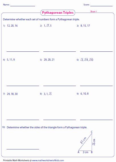The Pythagorean theorem Worksheet Lovely Pythagorean theorem Worksheets