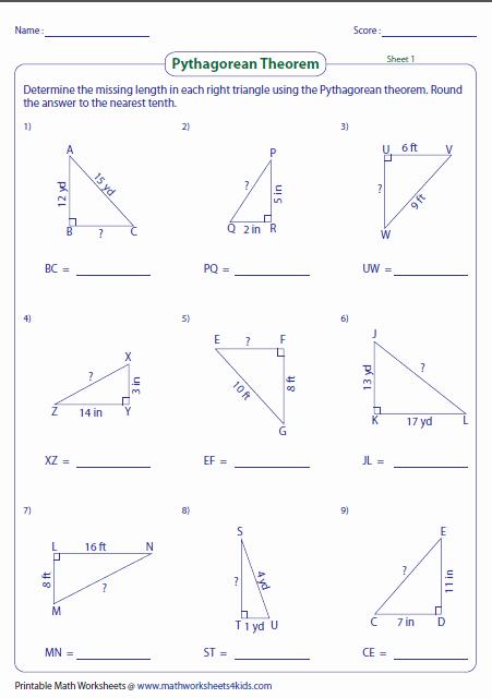 The Pythagorean theorem Worksheet New Pythagorean theorem Worksheets