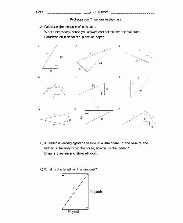 The Pythagorean theorem Worksheet New Sample Pythagorean theorem Worksheet 9 Free Documents