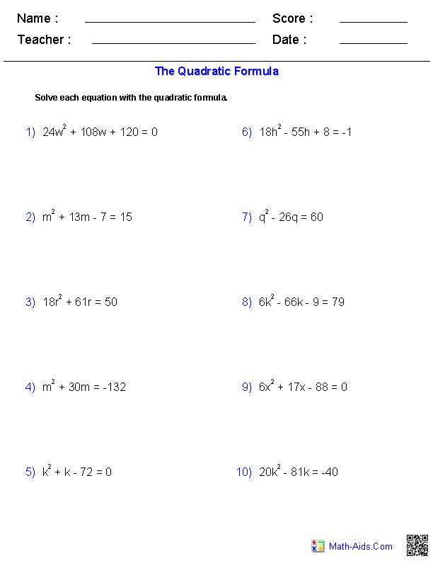 The Quadratic formula Worksheet Awesome Algebra 1 Worksheets