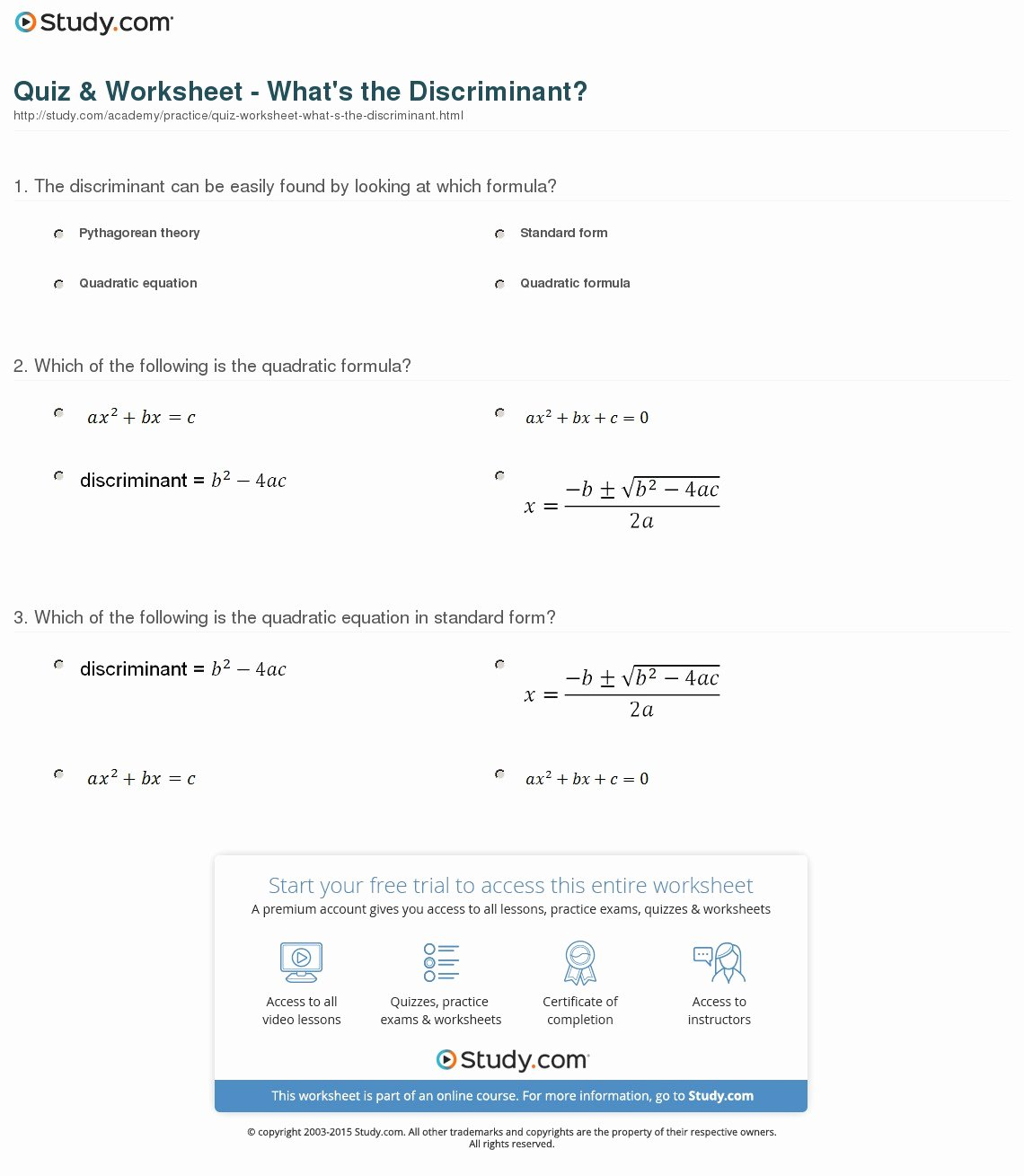 The Quadratic formula Worksheet Fresh Quiz & Worksheet What S the Discriminant