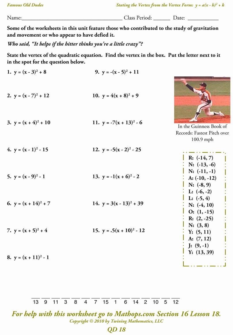 The Quadratic formula Worksheet Fresh Writing Equations Parabolas In Vertex form Worksheet