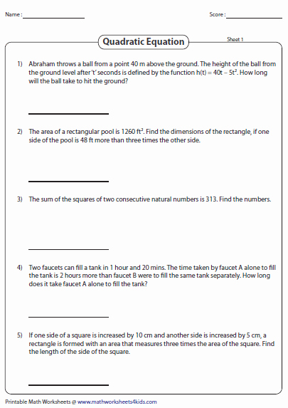 The Quadratic formula Worksheet New Quadratic Equation Worksheets