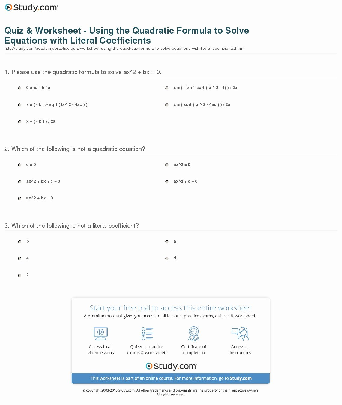The Quadratic formula Worksheet New Quiz & Worksheet Using the Quadratic formula to solve