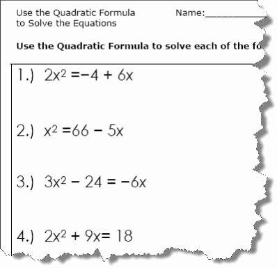 The Quadratic formula Worksheet New Use the Quadratic formula to solve the Equations