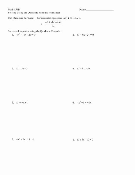 The Quadratic formula Worksheet Unique solve Quadratic Equations In E Variable Collection