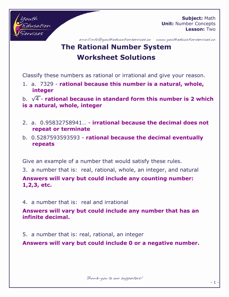 The Real Number System Worksheet Awesome Natural whole Integer Rational Irrational Real Numbers