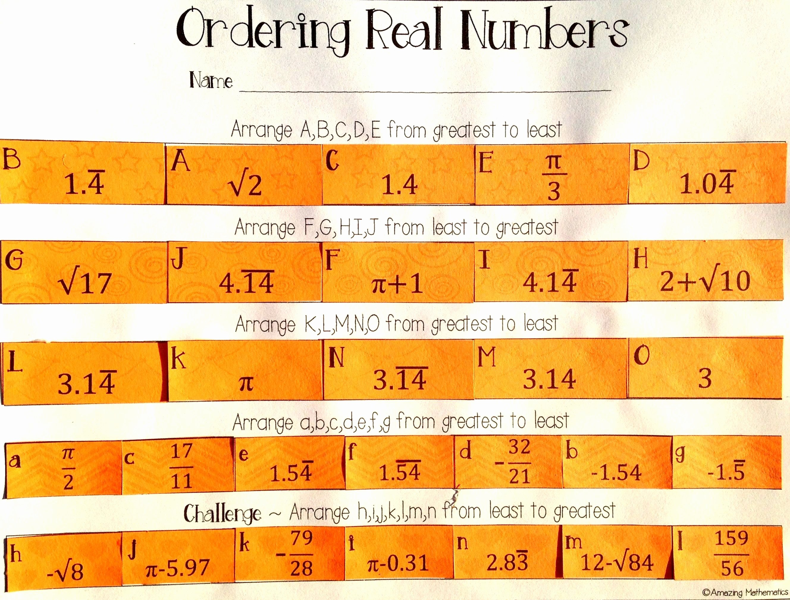 The Real Number System Worksheet Luxury ordering Real Numbers Activity Rational and Irrational