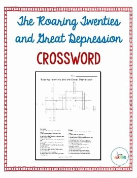 The Roaring Twenties Worksheet Awesome Roaring Twenties and Great Depression Crossword Puzzle