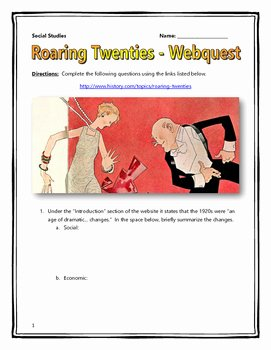 The Roaring Twenties Worksheet Awesome Roaring Twenties Webquest with Key by History Matters