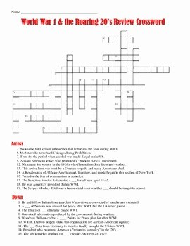 The Roaring Twenties Worksheet Best Of World War I and the Roaring 20 S Crossword Puzzle by