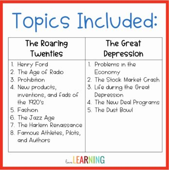 The Roaring Twenties Worksheet Luxury the Roaring Twenties and the Great Depression Unit