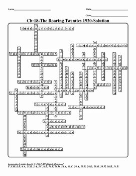 The Roaring Twenties Worksheet New U S History Staar Crossword Puzzle Ch 18 the Roaring