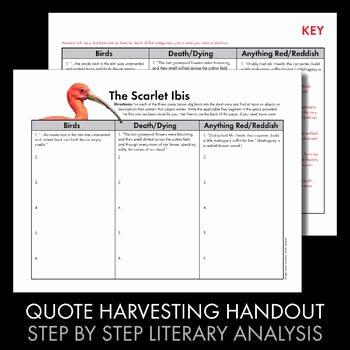 The Scarlet Ibis Worksheet Lovely Scarlet Ibis James Hurst 3 Day Lesson Lit Analysis