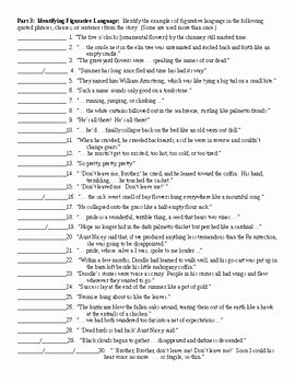 The Scarlet Ibis Worksheet Unique the Scarlet Ibis by James Hurst Figurative Language
