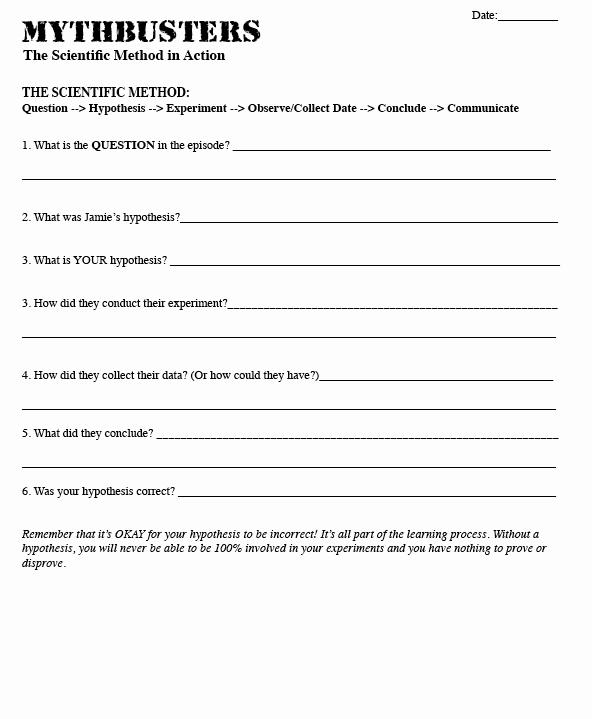 The Scientific Method Worksheet Beautiful Mythbusters Scientific Method Worksheet