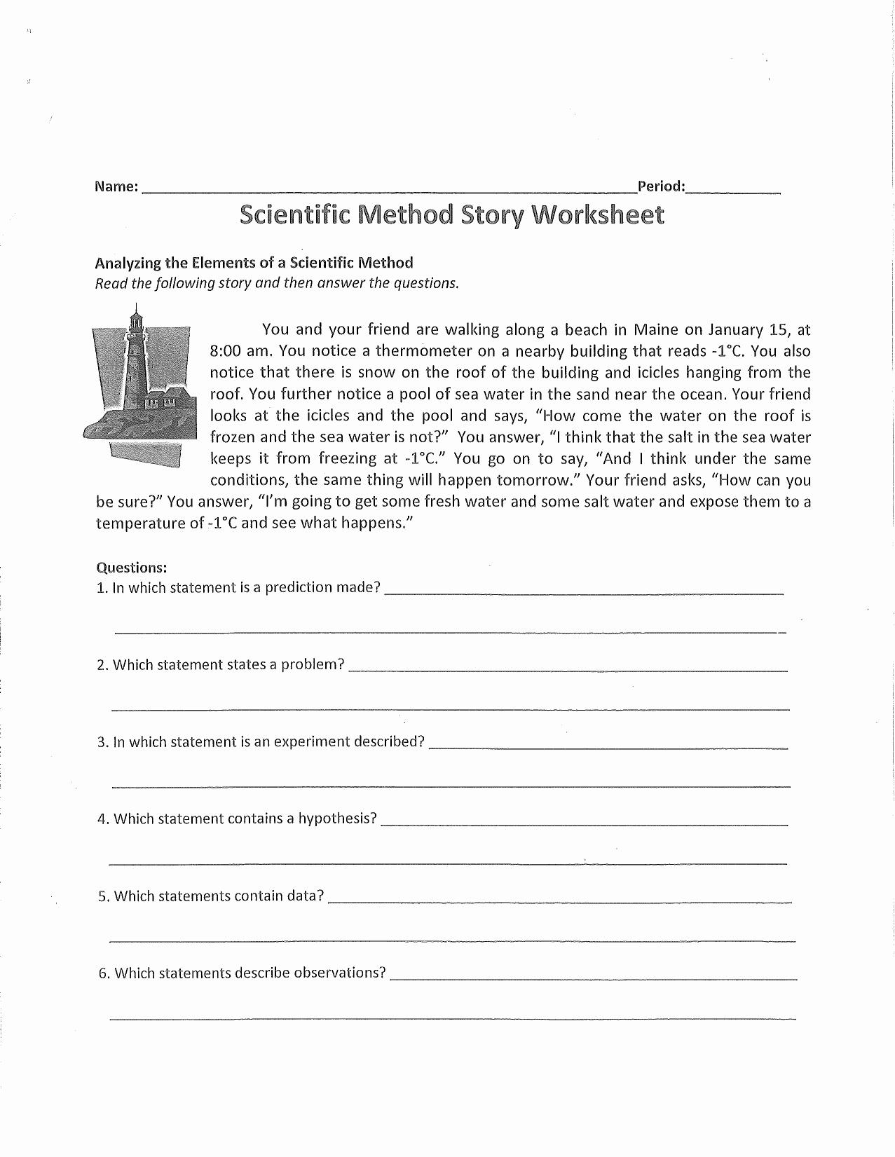 The Scientific Method Worksheet Inspirational Scientific Method Story Worksheet