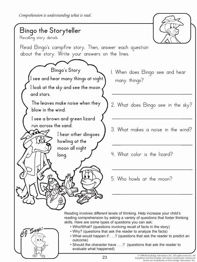 The Story Of Stuff Worksheet Lovely Bingo the Storyteller Reading Worksheet for 2nd Grade