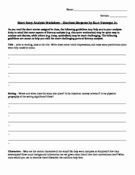 The Story Of Stuff Worksheet New Short Story Analysis Worksheet Harrison Bergeron by Kurt