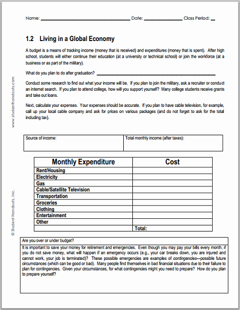 The Student Budget Worksheet Answers Awesome Monthly Bud Worksheet for Economics Free to Print