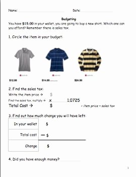 The Student Budget Worksheet Answers Elegant Money Skills Bud and Finding Change