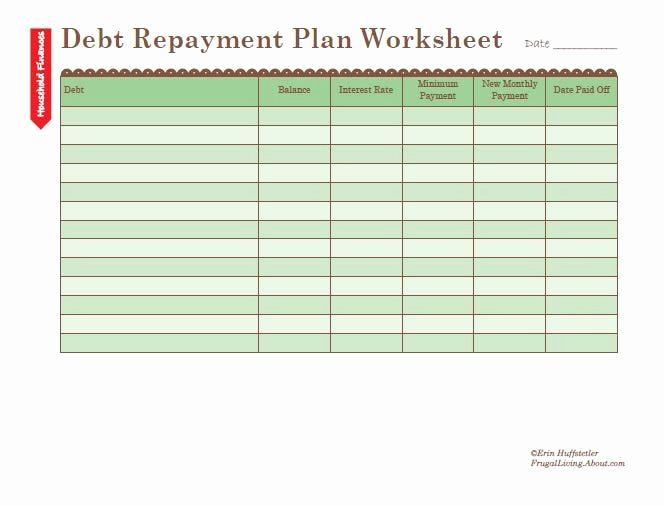 The Student Budget Worksheet Answers Fresh Printable Debt Repayment Plan Worksheet