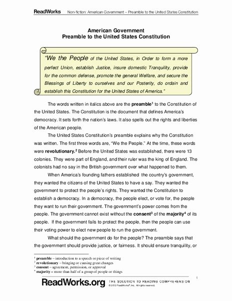 The Us Constitution Worksheet Answers Awesome American Government Preamble to the United States