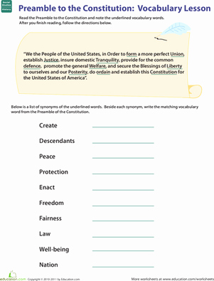 The Us Constitution Worksheet Answers Lovely Vocab In History Preamble to the Constitution