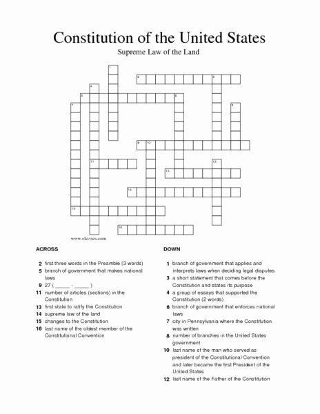 The Us Constitution Worksheet Answers Unique Constitution Of the United States Crossword Puzzle