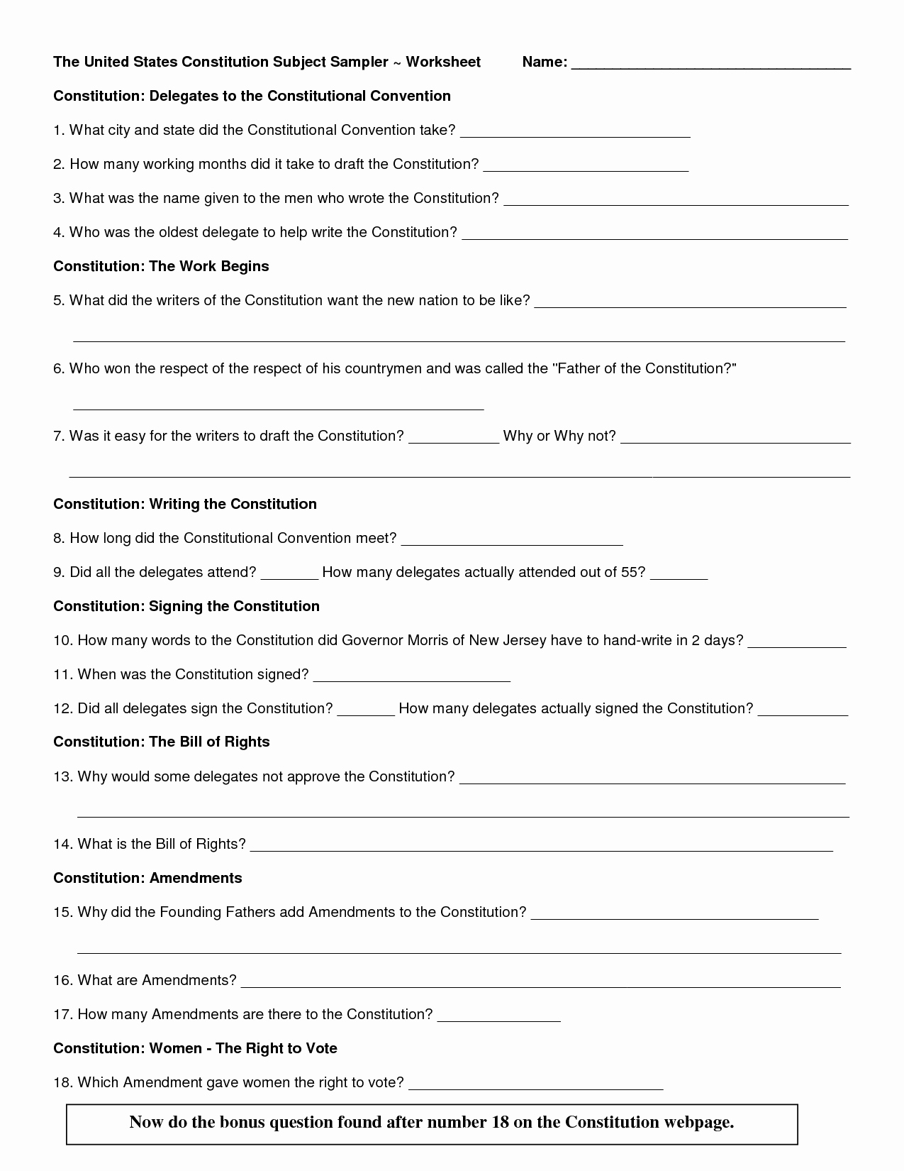 The Us Constitution Worksheet Answers Unique the Us Constitution Worksheet Virginia Plan
