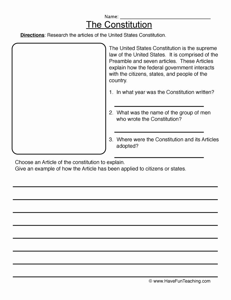 The Us Constitution Worksheet Awesome Constitution Worksheet