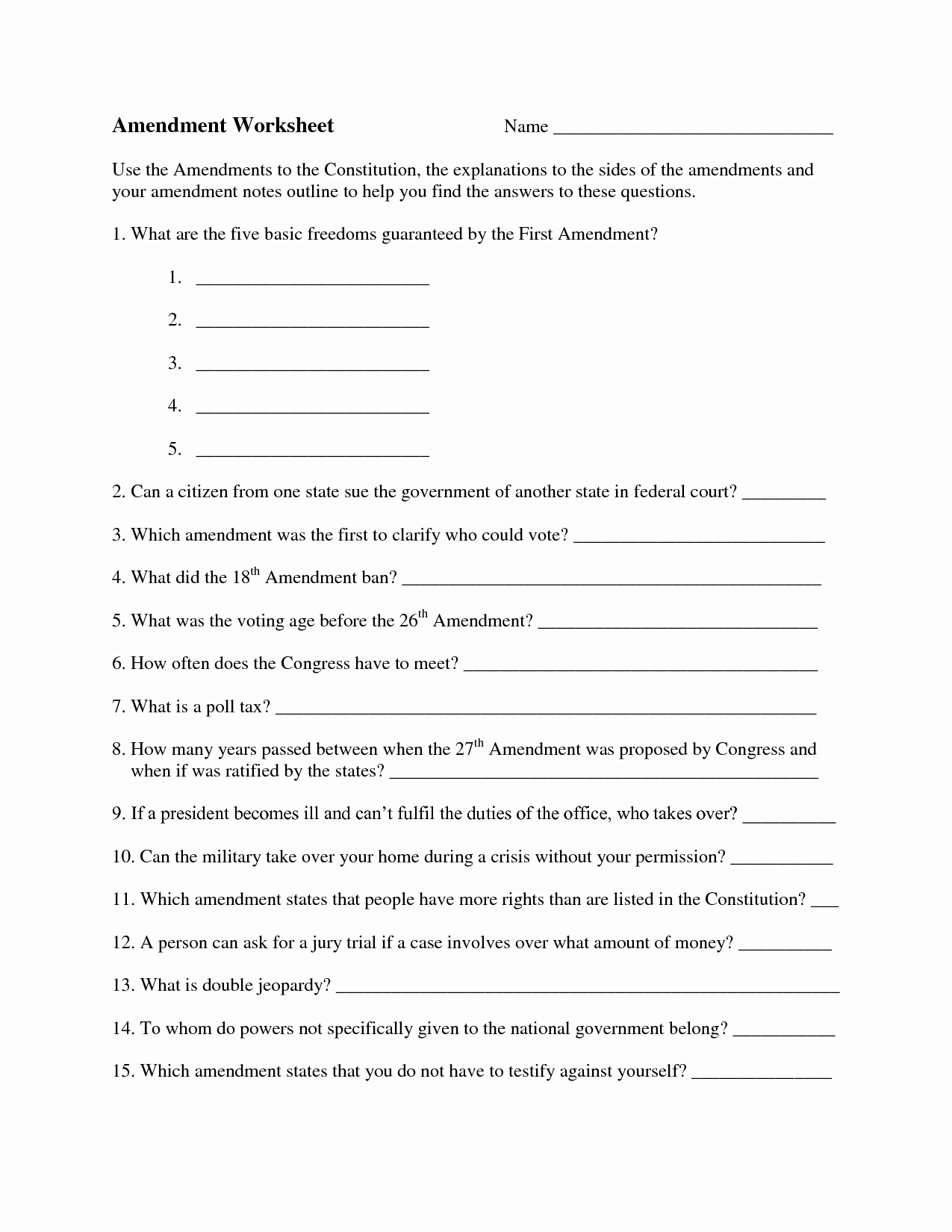 The Us Constitution Worksheet Beautiful Question Worksheet Category Page 2 Worksheeto