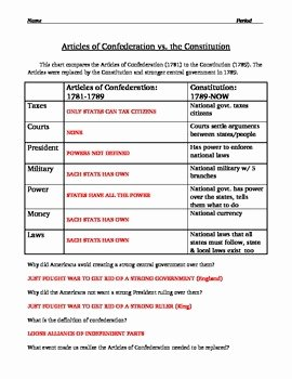 The Us Constitution Worksheet Elegant Articles Confederation Worksheet Answers